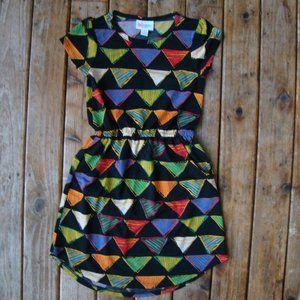 Girls LuLaRoe Mae Dress Black Background Triangle